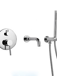 cheap -Bathroom Sink Faucet - Widespread Chrome Other Three Handles One HoleBath Taps
