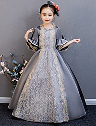 cheap -Princess Rococo Victorian Medieval Dress Outfits Costume Girls' Kid's Costume Gray Vintage Cosplay Party / Evening Birthday Party Birthday Long Length A-Line