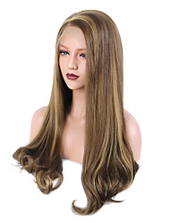 cheap -Synthetic Lace Front Wig Curly Bouncy Curl Side Part Free Part Glueless Lace Front 13x6 Closure Wig Blonde Long Medium Length Very Long Blonde Strawberry Blonde / Light Blonde Synthetic Hair 24 inch