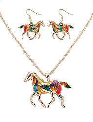 cheap -Women's Hoop Earrings Necklace Vintage Style Horse Dainty Earrings Jewelry Gold / Silver For Party Daily 1 set