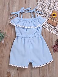 abordables -bébé Fille Actif / Basique Couleur Pleine Franges Coton Ensemble & Combinaison Bleu clair / Bébé