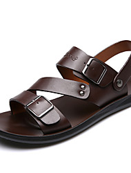 cheap -Men's Sandals Comfort Shoes Gladiator Sandals Roman Sandals Casual Roman Shoes Daily Beach Walking Shoes Cowhide Breathable Black Brown Summer / Beading