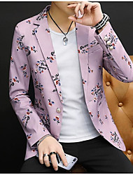 cheap -White / Sky Blue / Pearl  Pink Patterned Slim Fit Polyester Suit - Notch Single Breasted One-button