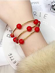 cheap -Women's Bead Bracelet Wrap Bracelet Bracelet Layered Ball Simple European Fashion Resin Bracelet Jewelry White / Red For Daily