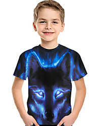 cheap -Kids Toddler Boys' Active Basic Wolf Print 3D Animal Print Short Sleeve Tee Blue