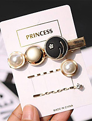 cheap -Women's Ladies For Gift Casual Imitation Pearl Alloy Gold 3pcs