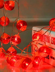 cheap -3m Red Lantern String Lights 20 LEDs Decorative New Year Home AA Batteries Powered 1 set