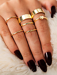 cheap -Women's Ring Ring Set Midi Rings 7pcs Gold Alloy Simple European Trendy Daily Carnival Jewelry Classic Heart Cool