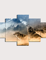 cheap -Print Stretched Canvas Prints - Landscape Animals Traditional Modern Five Panels Art Prints