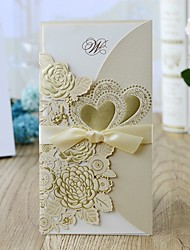 cheap -Wrap & Pocket Wedding Invitations 10pcs - Invitation Cards Floral Style Pearl Paper 21.5*11.5 cm Satin Bow