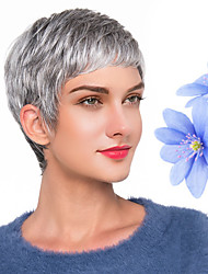 cheap -Human Hair Blend Wig Short Natural Wave Pixie Cut Dark Gray New Comfortable African American Wig Capless Women's All Grey / For Black Women