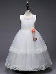 cheap -Princess Floor Length Wedding / Birthday / Pageant Flower Girl Dresses - Lace / Tulle / Polyester Sleeveless Jewel Neck with Lace / Pearls / Appliques