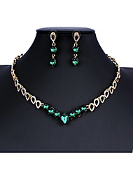 cheap -Women's Black Blue Green Bridal Jewelry Sets Link / Chain Drop Basic Fashion Rhinestone Earrings Jewelry Red / Green / Blue For Christmas Wedding Party Engagement 1 set