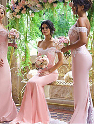cheap -Mermaid / Trumpet Off Shoulder Court Train Jersey Bridesmaid Dress with Appliques / Buttons / Open Back