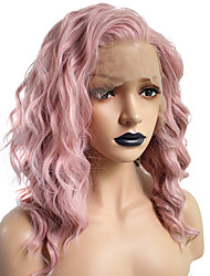 cheap -Synthetic Lace Front Wig Curly Wavy Hathaway Bob Pixie Cut Free Part Lace Front Wig Pink Short Pink Synthetic Hair 14 inch Women's Soft Women Best Quality Pink