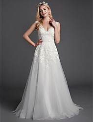cheap -A-Line V Neck Sweep / Brush Train Lace / Tulle Sleeveless Romantic See-Through / Backless Wedding Dresses with Lace 2020