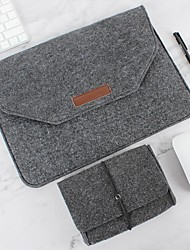 cheap -Natural Wool Felt Laptop Case Protector Bag Plus Power Pack Compatible 11-15 Inch MacBook Pro MacBook Air Laptop Gray Black