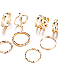 cheap -Women's Ring Ring Set Open Ring 8pcs Gold Silver Alloy Classic Vintage European Daily Carnival Jewelry Retro Cool