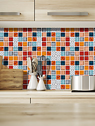cheap -Fashion Colour Grid Pattern PVC Waterproof Self-adhesive Wall Stickers - Plane Wall Stickers Transportation / Landscape Study Room / Office / Dining Room / Kitchen