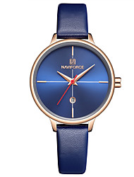 cheap -NAVIFORCE Women's Quartz Watches Elegant Minimalist Blue Red Orange PU Leather Chinese Quartz Orange Red Gray Water Resistant / Waterproof Calendar / date / day Casual Watch 30 m 1 pc Analog Two