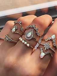 cheap -Women's Statement Ring Knuckle Ring Ring Set Cubic Zirconia Synthetic Opal 10pcs Gold Imitation Diamond Alloy Luxury Vintage Trendy Gift Daily Jewelry Retro Geometrical Drop Flower Pear Cool