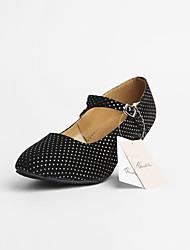abordables -Mujer Zapatos de Baile Moderno Salón Zapatos de Salsa Baile en línea Tacones Alto Lunares Tacón Cubano Negro Fucsia Hebilla / EU42