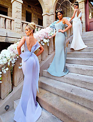 cheap -Mermaid / Trumpet Straps Sweep / Brush Train Organza / Satin Bridesmaid Dress with Beading / Appliques / Bow(s) / Open Back