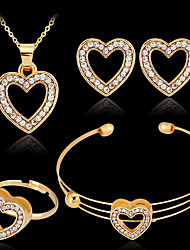 cheap -Women's Bracelet Bangles Stud Earrings Pendant Necklace Cut Out Heart Stylish Classic Rhinestone Gold Plated Earrings Jewelry Gold For Wedding Party 1 set / Open Ring