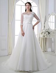 cheap -A-Line Jewel Neck Court Train Lace / Tulle Half Sleeve Wedding Dresses with Lace / Sashes / Ribbons / Bow(s) 2020