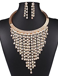 cheap -Women's Drop Earrings Choker Necklace Chain Necklace Tassel Pear Tassel Vintage Gold Plated Earrings Jewelry Gold For Party Street 1 set