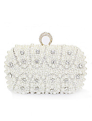 cheap -Women's Bags Polyester / Alloy Evening Bag Pearls Crystals Geometric Pattern for Wedding / Party / Event / Party Beige / Rhinestone Crystal Evening Bags