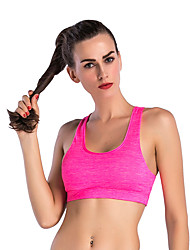 cheap -Women's Sports Bra Top Sports Bra Pullover Sports Bra Racerback Yoga Dance Fitness Breathable Quick Dry Sweat-wicking Padded Medium Support Pink Color Block