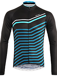 cheap -Arsuxeo Men's Long Sleeve Cycling Jersey Winter Black / Blue Bike Top Mountain Bike MTB Road Bike Cycling Back Pocket Sweat-wicking Sports Clothing Apparel / Micro-elastic / Triathlon / Italian Ink