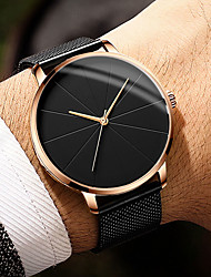 cheap -Men's Dress Watch Quartz Stainless Steel Black / Silver 30 m Water Resistant / Waterproof Casual Watch Large Dial Analog Classic Fashion Simple watch - Silver Rose Gold Black / Silver One Year