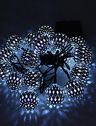 cheap -1 set LED Lantern Solar Light String 15m 100 Light Moroccan Ball Iron Ball Outdoor Waterproof Light Garden Decoration Light