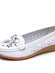 cheap -Women's Cowhide Fall / Spring & Summer Classic / Minimalism Loafers & Slip-Ons Wedge Heel Round Toe Tassel Pink / Wine / Light Blue