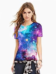 cheap -Women's T-shirt - Galaxy / 3D / Graphic Print Purple