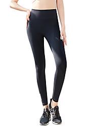 abordables -Femme Taille Haute Pantalon de yoga Couleur unie Course / Running Fitness Entraînement de gym Collants Tenues de Sport Evacuation de l'humidité Séchage rapide Contrôle du Ventre Power Flex Haute