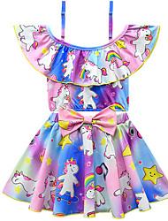 abordables -Enfants Bébé Fille Actif Le style mignon Unicorn Imprimé Noeud Manches courtes Maillot de Bain Bleu