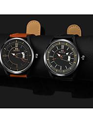 Недорогие -Муж. Нарядные часы Кварцевый Кожа Черный / Коричневый Повседневные часы Аналоговый Мода - Черный Коричневый Один год Срок службы батареи / Нержавеющая сталь
