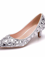 cheap -Women's PU(Polyurethane) Spring & Summer / Fall & Winter Sweet Wedding Shoes Low Heel Pointed Toe Rhinestone Silver / Rainbow / Party & Evening