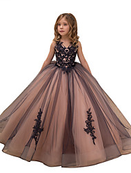 cheap -Ball Gown Maxi Birthday / Pageant Flower Girl Dresses - Tulle / Satin Chiffon Sleeveless V Neck with Lace / Embroidery / Appliques