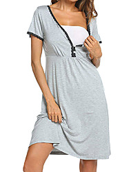cheap -Women's Above Knee Maternity Black Gray Dress Street chic Sophisticated T Shirt Solid Colored Lace Split S M