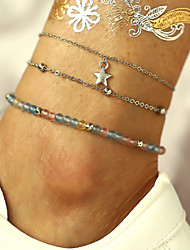 cheap -Ankle Bracelet European Casual / Sporty Ethnic Women's Body Jewelry For Daily Carnival Layered Imitation Pearl Alloy Star Silver 3pcs