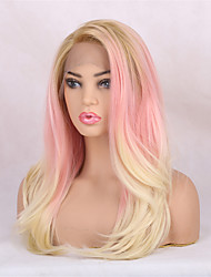 cheap -U Part / Lace Front Straight Chinese Lace Synthetic Hair Women's / All Women / Synthetic / Sexy Lady Party / Evening / Dailywear / Carnival / Pink / African American Wig
