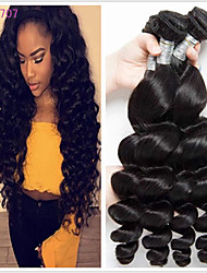 cheap -4 Bundles Brazilian Hair Loose Wave Unprocessed Human Hair Natural Color Hair Weaves / Hair Bulk Extension Bundle Hair 8-28 inch Natural Color Human Hair Weaves Odor Free Sexy Lady Best Quality Human