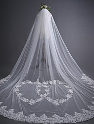 cheap -One-tier Lace Applique Edge / Hearts Wedding Veil Cathedral Veils with Heart / Appliques 118.11 in (300cm) Lace / Tulle / Heart Shaped