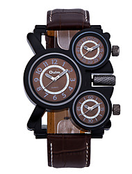 cheap -Oulm Men's Military Watch Quartz Oversized Genuine Leather Black / Brown Three Time Zones Cool Analog Luxury - White Black Coffee