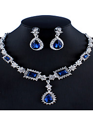 cheap -Women's Blue Red Gray Crystal Bridal Jewelry Sets Geometrical Pear Luxury Fashion Rhinestone Earrings Jewelry Red / Dark Blue / Gray For Wedding Engagement 1 set