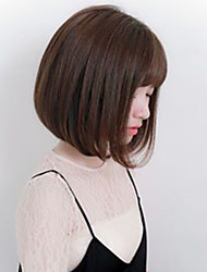 cheap -Human Hair Wig Medium Length kinky Straight Natural Straight Bob Brown Fashionable Design Adjustable Lovely Capless Women's All Chestnut Brown Natural Black Strawberry Blonde / Light Blonde 12 inch